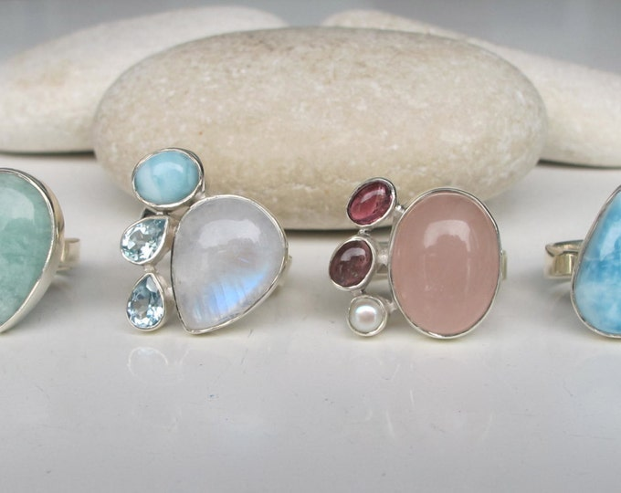 Cluster Multistone Gemstone Ring- Boho Statement Ring Amazonite Blue Topaz Moonstone Green Amethyst Ring- June February March December Ring