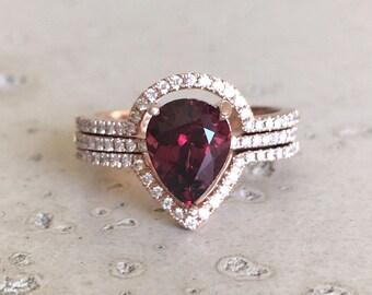 Pear Garnet 2ct Engagement Ring Set- Rose Gold Garnet Diamond Bridal Ring Set- Garnet Ring with two Matching Wedding Band Rose Gold