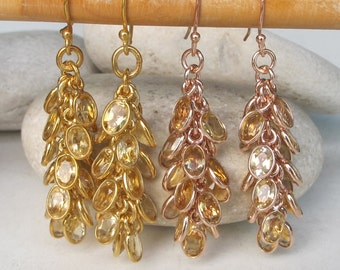 Rose Gold Cluster Earring- Boho Cascade Citrine Earring- Long Beaded Dangle Earring- November Birthstone Earrings- Jewelry Gifts for Her