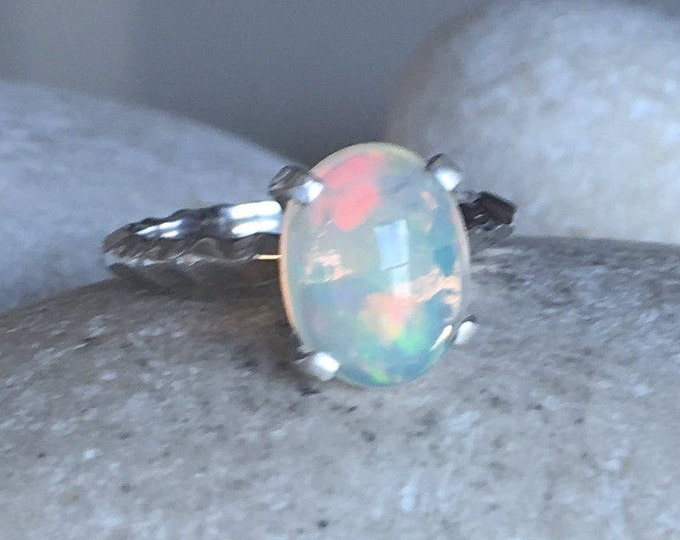 Rainbow Welo Opal Ring- Oval Opal Engagement Ring- Solitaire Opal Promise Ring- Simple Opal Ring- October Birthstone Ring- Genuine Opal Ring