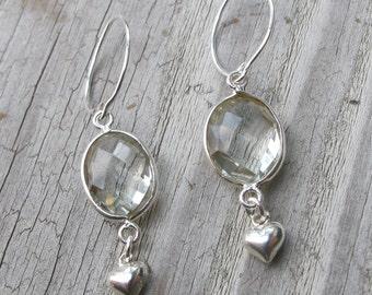 Amethyst Dangle Silver Heart Motif Earring Boho Clear Crystal Earring Valentine February Birthstone Drop Earring Sterling Silver