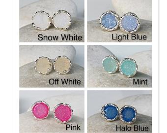 Raw Druzy Stud Boho Earring- Raw Crystal Round Earring- Rough Stone Silver Earring- Bohemian Sterling Silver Circle Earring- Simple Stud