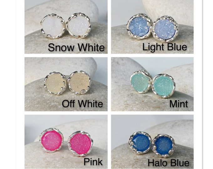 Raw Druzy Stud Galaxy Earring- Raw Celestial Round Earring- Rough Stone Silver Earring- Bohemian Sterling Silver Circle Earring- Simple Stud