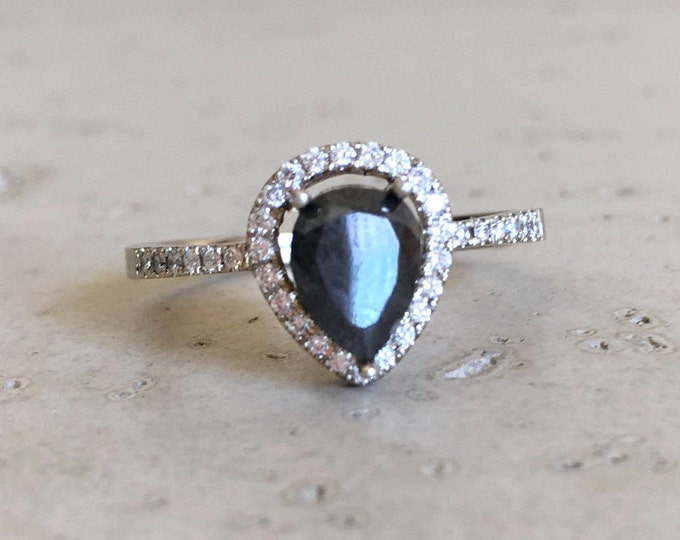 Black Diamond Engagement Ring- Pear Halo Black Diamond Rose Gold White Gold Ring- Black Stone Teardrop Genuine Natural Black Diamond Ring
