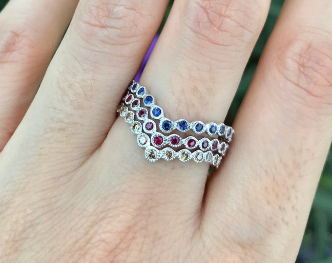 Womens Chevron Wedding Curve Band- V Crown Nesting Contour Band- Full Eternity Arc Band- Blue Sapphire Ruby Champagne Diamond Band