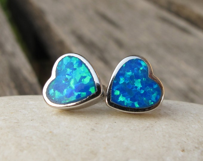 Blue Opal Heart Shaped Silver Stud Earring- Blue Opal Heart Earring- Boho Iridescent Opal Stud Earring- October Birthstone Stud
