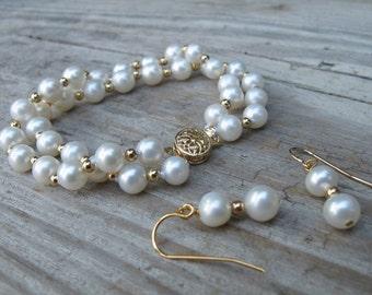 Pearl Jewelry Set- Real Genuine Pearl Earring Bracelet Freshwater Pearl Jewelry White Pearl Bridal Jewelry June Birthstone Jewelry