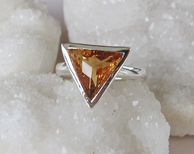 Genuine Triangle Citrine Statement Ring- Natural Citrine Solitaire Silver Ring- November Birthstone Ring- Trillion Yellow Geometric Ring