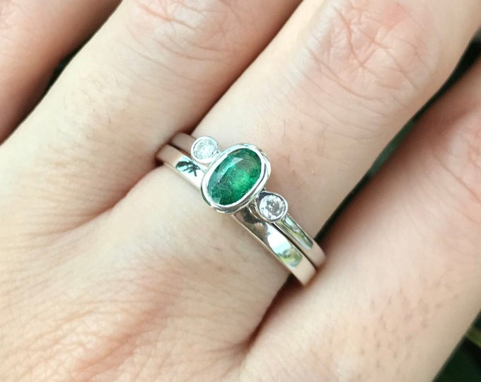 Emerald Oval Engagement Women Ring Set- Deco Genuine Emerald with Diamond Bridal Ring Set- Three Stone Bezel Emerald Promise 2 Ring Set