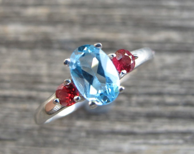 Blue Topaz Promise Ring- Three Stone Anniversary Ring- Blue Red Engagement Ring- Blue Topaz Solitaire Ring- Sterling Silver Gemstone Ring