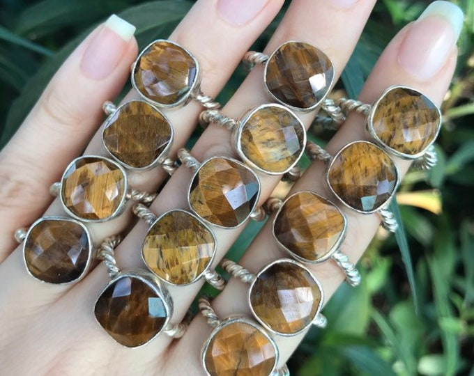 Square Tiger Eye Ring- Silver Tiger Eye Stack Ring- Brown Gold Stone Ring- Rope Band Gemstone Boho Ring