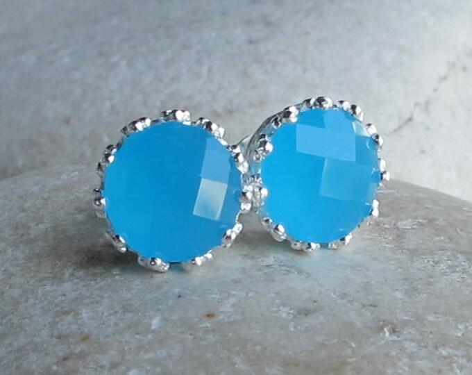 Boho Blue Stud Earring- Milky Blue Earring- Baby Blue Stud Earring- Round Aqua Blue Earring