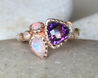 Bohemian Rose Gold Ring- Multistone Cluster Ring- Amethyst Opal Moonstone Ring- Unique Boho Chic Ring- Festive Gypsy Ring