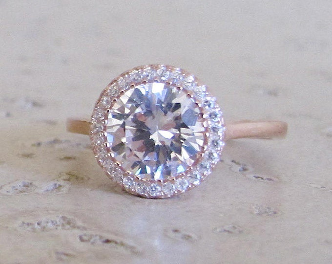 Rose Gold Colorless Engagement Ring- Halo Simulated Diamond Ring- Classic Engagement Ring- Alternative Engagement Ring