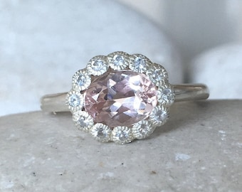Halo Morganite Engagement Ring- Oval Morganite Promise Ring- Pink Alternative Engagement Ring- Wedding Bridal Pink Ring- Anniversary Ring