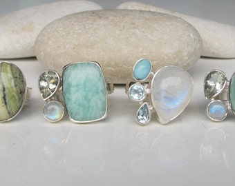 Multistone Statement Ring- Bold Unique Ring- One of A Kind Ring- Colorful Gemstone Ring- Cluster Stone Ring- Sterling Silver Ring