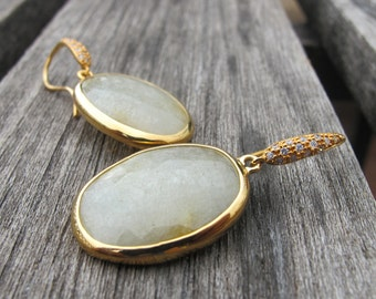 Light Green Sapphire Raw Dangle Earring- Oval Rough Drop Gold Earring- September Birthstone Earring- Natural Genuine Sapphire Earring