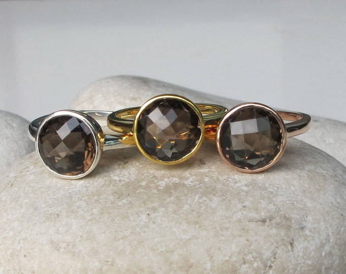 Round Smoky Quartz Ring- Faceted Smoky Topaz Ring- Rose Gold Brown Stackable Gemstone Ring- Simple Sterling Silver Ring- Brown Ring