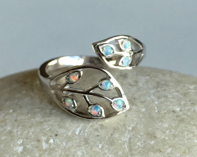 Opal Leaf Adjustable Silver Ring- White Opal Dual Leaf Friendship Ring- Ring for Teen- Jewelry Gifts for Child- October Birthstone Ring