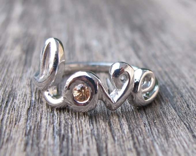 Peach Sapphire Love Ring- Green Sapphire Love Ring- Love Statement Promise Ring- Friendship Word Love Ring- Unique September Birthstone Ring