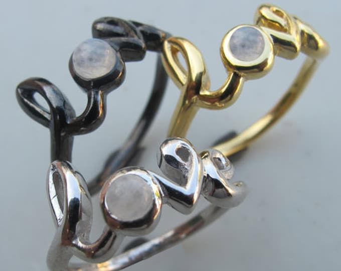 Moonstone Love Ring, Statement Moonstone Ring,  Rainbow Moonstone Word Love Ring, BFF Love Moonstone Ring