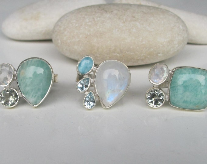 Cluster Boho Turquoise Ring- Multistone Gemstone Ring- Amazonite Blue Topaz Moonstone Amethyst Ring- June February March December Birthstone
