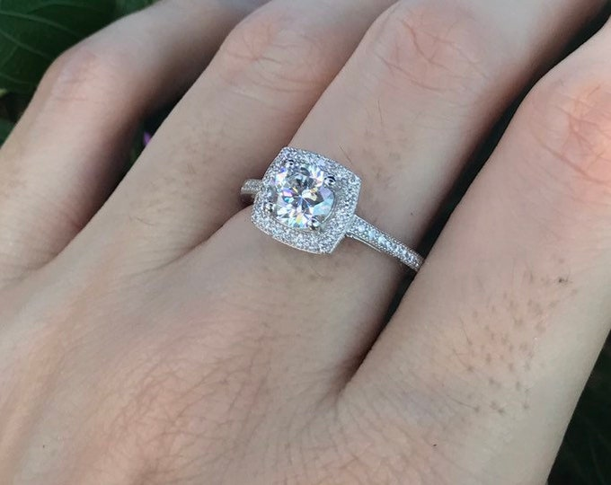 1ct Diamond Simulant Women Engagement Ring- Colorless Halo Square Promise Ring For Her- Clear Alternative Diamond Anniversary Ring