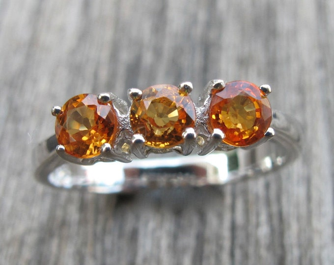 Orange Sapphire Engagement Ring- Three Stone Anniversary Ring- Promise Ring- Simple Solitaire Alternative Ring- Gemstone Engagement Ring