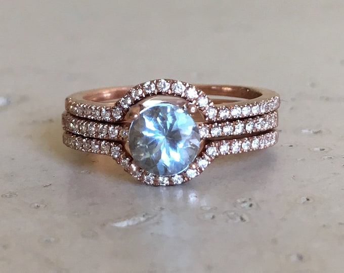 Round Aquamarine Engagement Ring Set- Rose Gold Aquamarine Bridal Ring Set- Alternative Blue Gem Ring- Aquamarine with Diamond Prong Ring