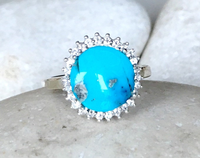 Genuine Turquoise Engagement Ring- Halo Turquoise Promise Ring- Blue Bridal Wedding Ring- Turquoise Statement Ring- December Birthstone Ring
