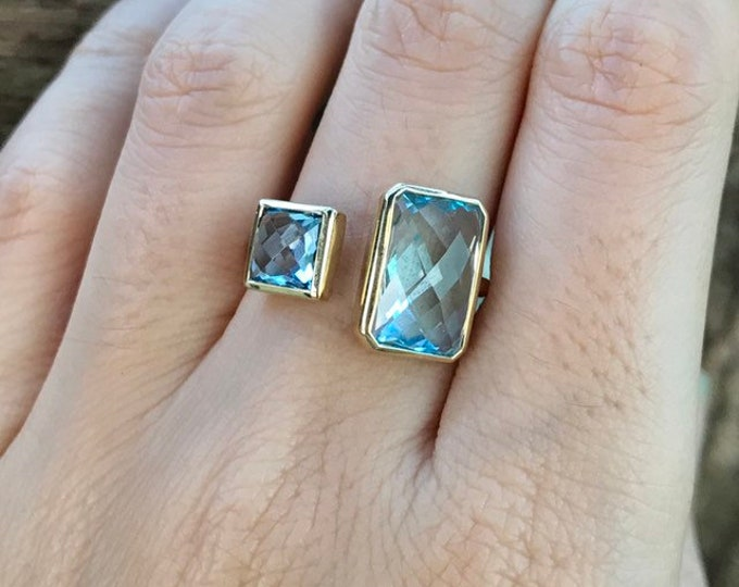 Sky Blue Topaz Dual Two Stone Ring- 14k Gold Blue Topaz Rose Cut Rectangle Square Ring- December Birthstone Ring- Mothers Birthstone Ring