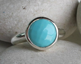 Boho Turquoise Ring Round Stackable Blue Turquoise Ring Faceted Sterling Silver Simple December Birthstone Bohemian Turquoise Ring