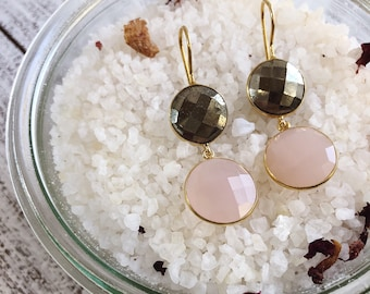 Raw Rustic Long Dangle Earring- Natural Pyrite Gold with Pink Drop Earring- Two Round Stone Earring- Boho Chic Gemstone Pink Gold Earring