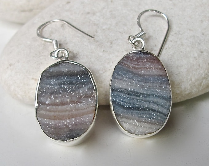 Oval Druzy Stripe Dangle Statement Earring- Unique Statement Druzy Drop Earring- Silver Druzy Earring- Desert Druzy Earring