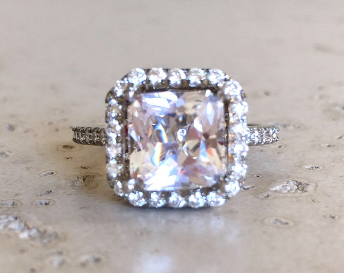 White Topaz Diamond Large Engagement Ring- Square Halo Colorless Ring- Clear Gemstone Cushion Alternative Ring- Solitarie 4ct Ring
