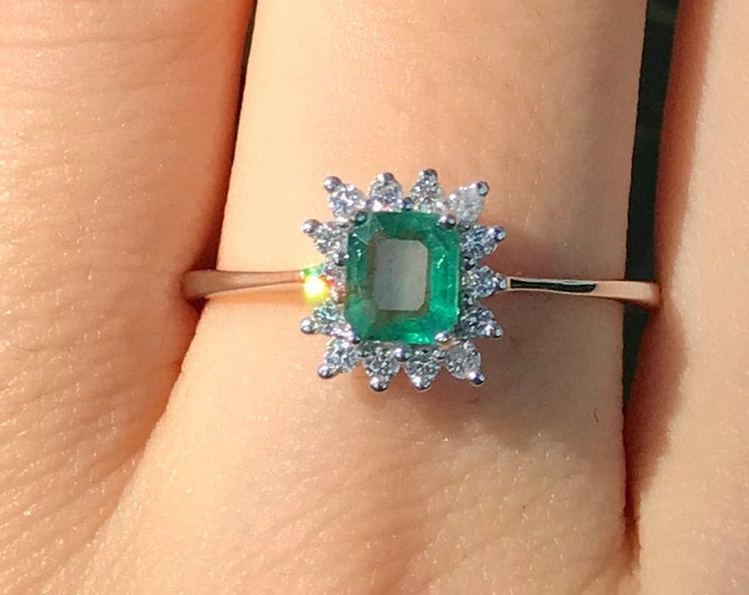 0.38ct Emerald Halo Diamond Promise Ring for Her- Genuine Emerald Dainty Engagement White Gold Ring- Rectangle Emerald May Birthstone Ring