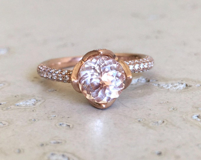 Rose Gold Morganite Engagement Ring- Morganite Floral Promise Ring- Round Flower Morganite Anniversary Ring-Solitaire Morganite Diamond Ring