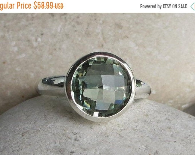 40% OFF SALE Green Amethyst Ring Simple  Round Amethyst Ring- Green Stackable Ring- February Birthstone Ring- Sterling Silver Minimal Boho R
