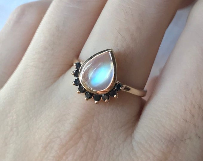 Teardrop Moonstone Engagement Ring- Rainbow Moonstone with Halo Black Diamond Ring- Pear Shape Solitaire Cabochon Moonstone Gold Ring