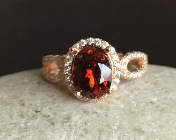 Garnet Engagement Ring, Rose Gold Promise Ring, Halo Oval Engagement Ring, Red Anniversary Ring, January Birthstone Ring- Alternative Ring
