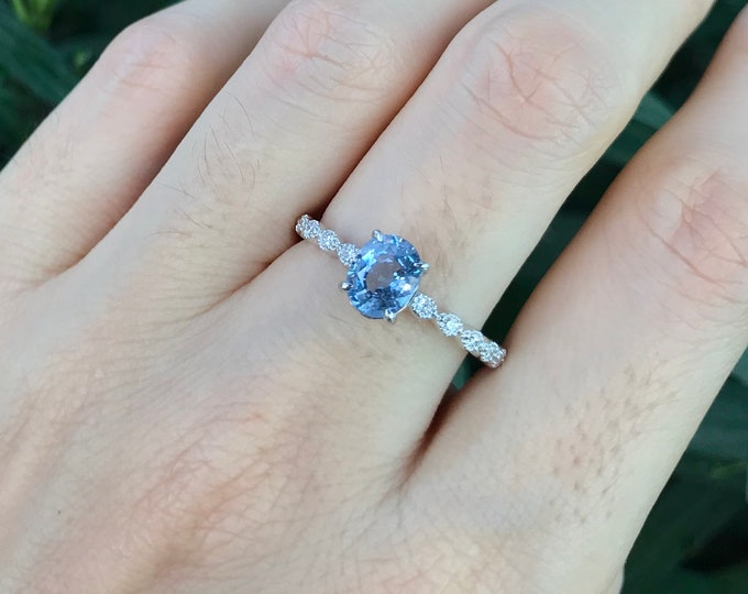 Light Blue Sapphire Oval Engagement Ring- Genuine Sapphire with Diamond White Gold Promise Ring for Her- 4 Prong Anniversary Ring Size 7