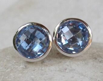 Round Blue Topaz Earring- Blue Quartz Earring- Classic Blue Stud Earring- Something Blue Earring- December Birthstone Silver Stud