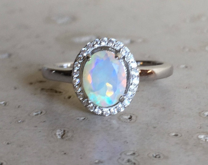 Oval Shape Opal Engagement Ring- Fire Opal Promise Ring- Genuine Opal Wedding Ring- October Birthstone Ring- Simple Opal Anniversary Ring