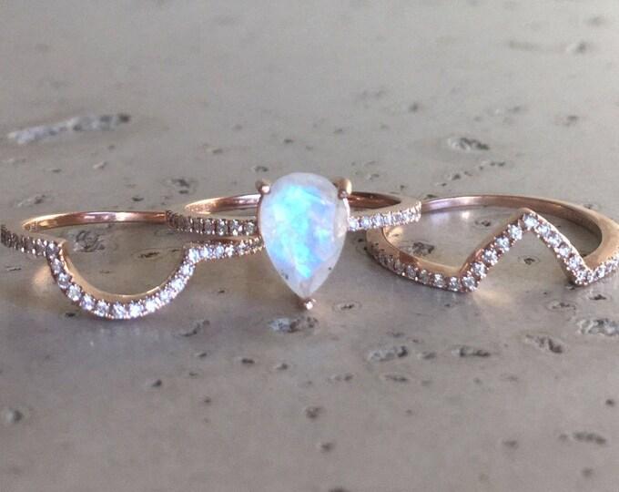 Moonstone Diamond Engagement Ring Set- Rose Gold Moonstone Bridal Ring Set- Pear Faceted Moonstone Ring- Boho Moonstone 3 Piece Ring Set