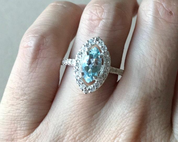 Marquise Aquamarine Engagement Ring- Aquamarine Navette Promise Ring- Halo Aquamarine Ring- March Birthstone Ring- Something Blue Ring