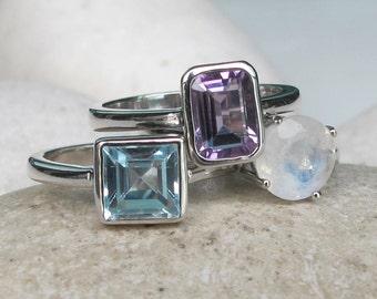 Amethyst Blue Topaz Moonstone Ring- Stackable Gemstone Ring- Family Birthstone Ring- December February June Silver Ring- Statement Ring