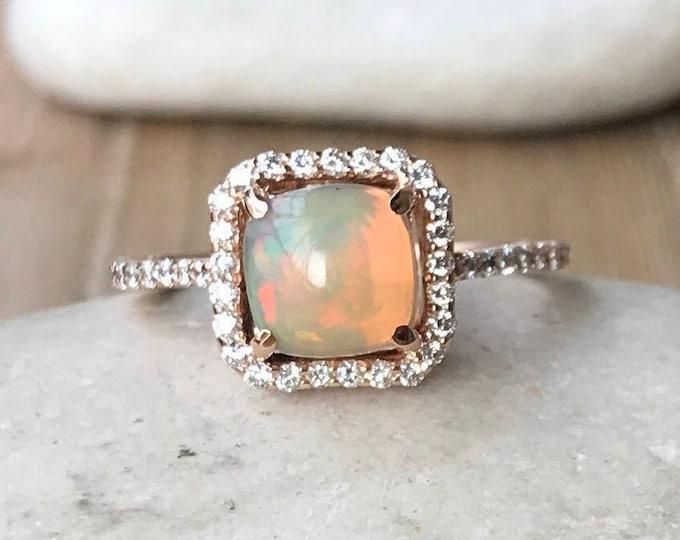 Cushion Opal Engagement Ring- Rose Gold Opal Ring- Cabochon Opal Ring- Halo Promise Ring- Classic Anniversary Ring- October Birthstone Ring