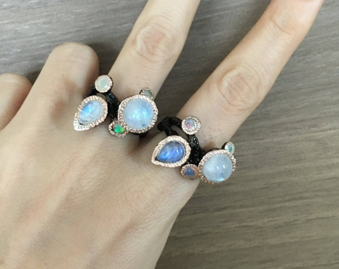 Cluster Moonstone Opal Ring- Multistone Gothic Statement Ring- Tree Branch Inspired Ring- Black Rhodium Statement Ring- Unique OOAK Ring