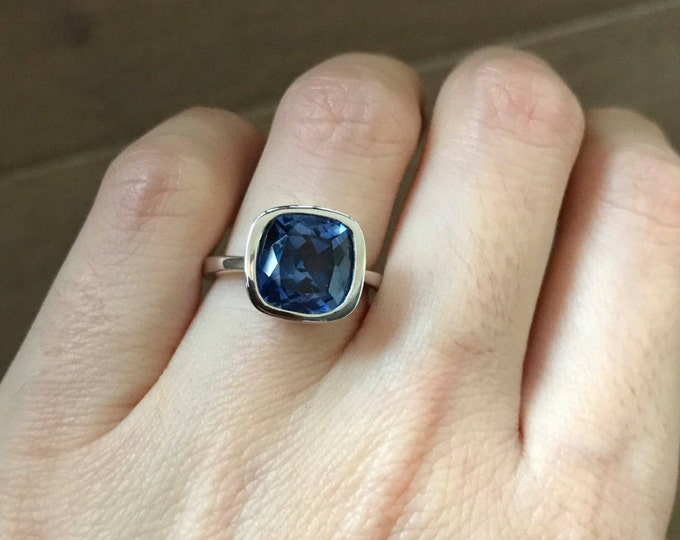 Simple  Sapphire Engagement Ring- Cushion Cut Sapphire Promise Ring- Solitaire September Birthstone Ring- Blue Gemstone Alternative Ring