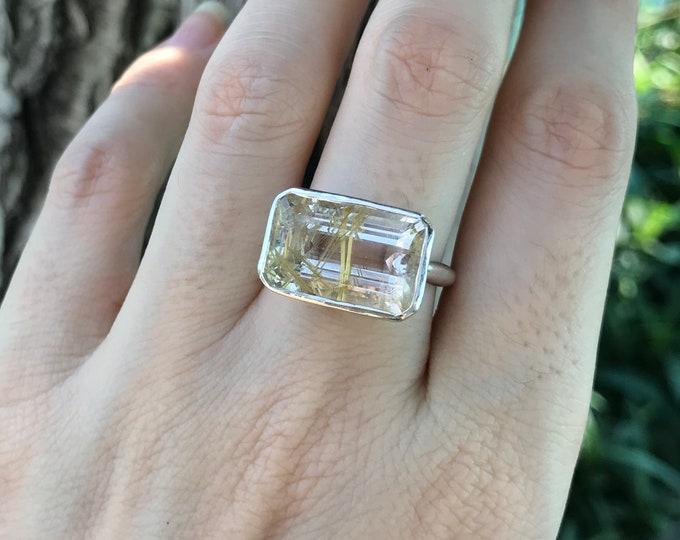 Rectangle Rutile Quartz Solitaire Unisex Ring- Mens Statement Rutilated Quartz Minimalist Ring- Gold Rutile Quartz Ring- East West Ring
